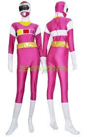 White Ranger Halloween Costume Power Ranger Henshin Grid Pink White Spandex Lycra Catsuit 2