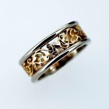 filigree wedding band wide two tone filigree wedding band yellow gold ring white