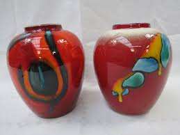 Black And Red Vase A Poole Pottery Ginger Jar Style Vase With Orange Black And Red
