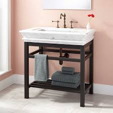 Oil Rubbed Bronze Bathroom Shelves by Modern Console Vanity With Carrara Marble Sink Top Bathroom