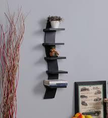 wall shelves pepperfry buy driftingwood walnut mdf curvy 5 tier floating wall shelf online