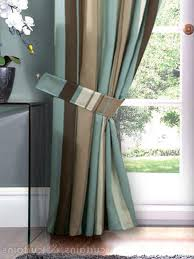 Striped Living Room Curtains by Home Curtains Tie Backs Hilton Duck Egg Blue Brown Striped Tie