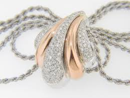 rose gold tone necklace images Contemporary two tone damiani 1 50ctw diamond puff scallop design jpg