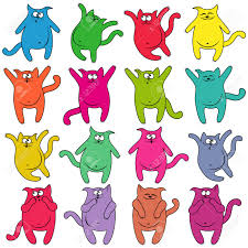funny colors set of sixteen thick funny cats of different colors cartoon