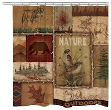 lodge collage ii shower curtain rustic shower curtains by
