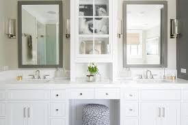 White Bathroom Vanity Mirror White Bathroom Vanity With Gray Mirror Transitional Bathroom