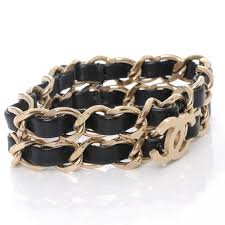 chain bracelet with leather images Chanel leather cc chain bracelet black gold 43680 jpg