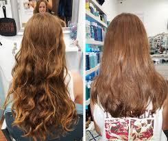 shaping long hair before after aqua blue salon