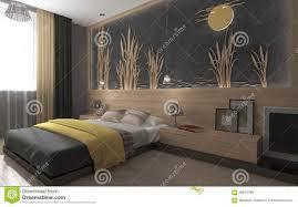 chambre à coucher moderne chambre à coucher moderne avec la couverture jaune illustration