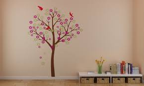 beautiful cherry blossom tree with birds wall stickers