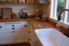 countertops brown wooden butchers block countertop connected by