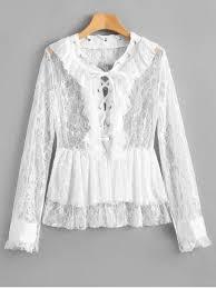 white lace blouses lace up ruffles sheer lace blouse white blouses m zaful