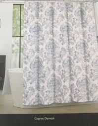Threshold Medallion Shower Curtain by Tahari Fabric Shower Curtain Cognac Damask Medallion Blue White
