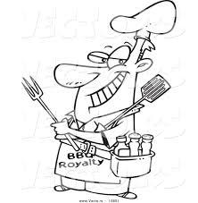 vector of a cartoon man wearing a bbq royalty apron coloring