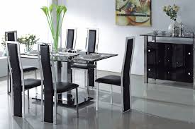 white dining table black chairs glass dining room sets createfullcircle com