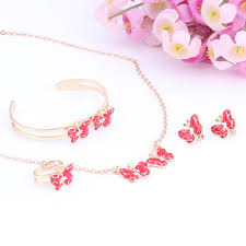necklace bracelet earring ring images Lovely butterfly children 39 s jewelry set 8 colors lilypiescharms jpg