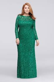 long lace plus size mother of bride groom dress with long sleeves