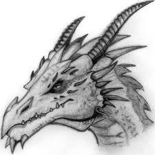 drawn dragon head pencil and in color drawn dragon head