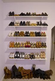 Shoe Home Decor Furniture White Wooden Wallmounted Striped Diy Shoe Shelf Ideas
