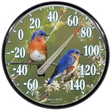 acurite 12 5 in bluebirds analog thermometer 01598a1 the home depot