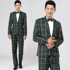 green brown plaid formal dress male suit set men suit latest coat