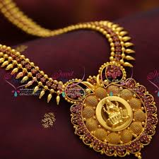 fashion jewelry gold necklace images Nl3781 beads design ruby temple pendant gold plated haram long JPG