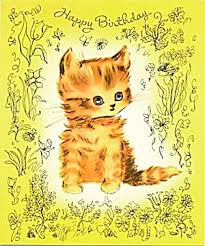 vintage birthday card gold cat birthday all occasion cards at