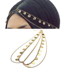 chain headband boho metal jewelry sequins tassel hair chain headband headpiece