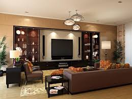 living room luxurious wall unit design with trio ceiling lights