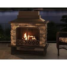 Stacked Stone Outdoor Fireplace - sunjoy farmington 48 inch steel and faux stack stone outdoor