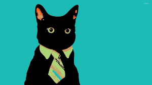 Meme Tie - black cat with a tie wallpaper digital art wallpapers 53403