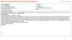 electrical tester battery application letter
