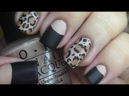 matte leopard nail tutorial and halfmoon manicure youtube
