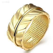 buy metal rings images Engraving big wide gold color plant design plain band finger rings jpg