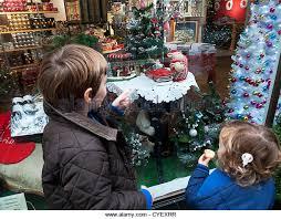 Window Display Christmas Decorations Uk by Children Looking Christmas Window Display Stock Photos U0026 Children