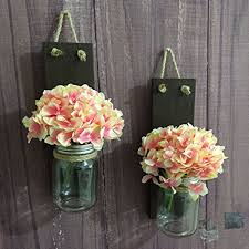 Vase Wall Sconce Handmade Rustic Jar Wall Sconce Set Of 2 Wood