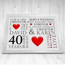 40 year wedding anniversary gift 40 year wedding anniversary gift personalised wedding anniversary