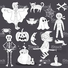 cute doodle halloween ghost line art vector illustration set stock