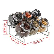amazon com 6 jar metal and glass food spice kitchen storage