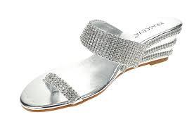 chic feet ladies womens silver diamante low wedge heel dressy