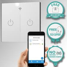 wifi controlled light switch wifiplug glass 2 gang wifi smart switch timer amazon co uk