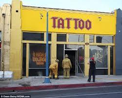la ink star kat von d outside famed tattoo shop after blaze