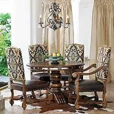 Love The Fabric Mixed With Leather Western  Southwest - Leather and fabric dining room chairs