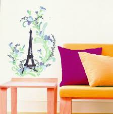 Eiffel Tower Wall Decals Eiffel Tower And Flower Wall Sticker Vinyl Transfere Mural Wall Art