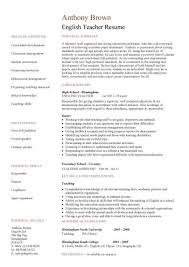 Resume In English Sample by Curriculum Vitae Examples For English Teachers Resume Ixiplay