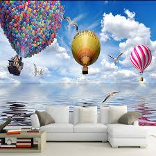 new design custom 3d poster wallpaper new design air balloon blue sky and
