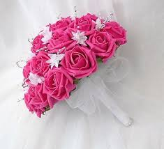 wedding flowers pink wedding flowers brides posy bouquet in hot pink and white