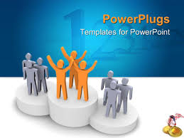 powerpoint template a person standing on the winning podium 31230