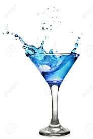 martini cocktail splash blue curacao cocktail with splash isolated on white stock photo