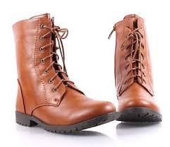 womens mid calf boots size 11 cognac combat boots faux leather womens mid calf boots